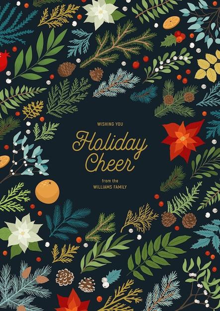 Weihnachtseinladung mit pflanzen, blumen, weihnachtsstern, tannen- und tannenzweigen, beeren. Premium Vektoren
