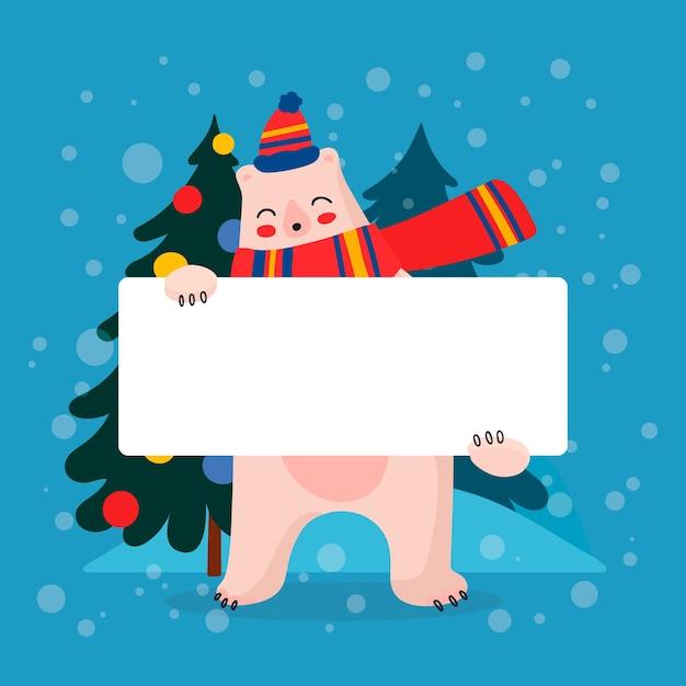 Weihnachtseisbär, der leere fahne hält Kostenlosen Vektoren