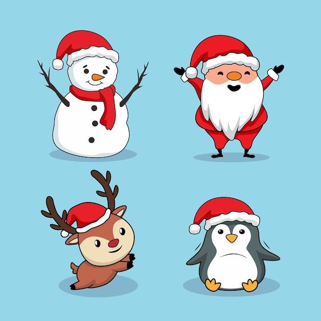 Weihnachtselement cartoon schneemann santa claus deer penguin Premium Vektoren