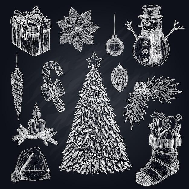 Weihnachtselemente auf tafel-set Kostenlosen Vektoren