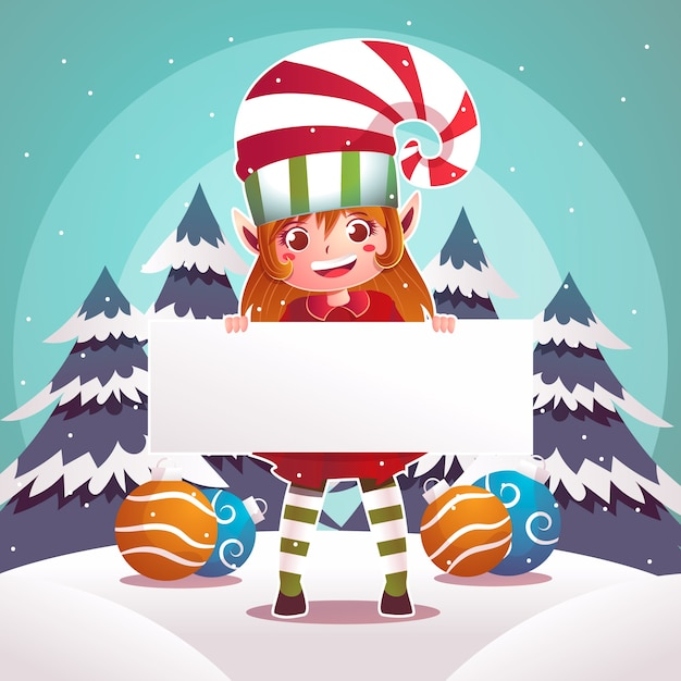 Weihnachtself, der unbelegte weihnachtsfahne anhält Kostenlosen Vektoren