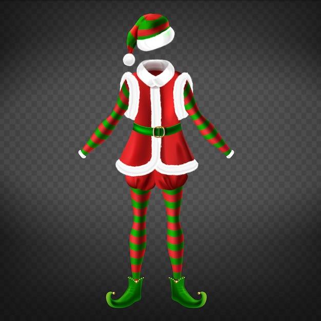 Weihnachtself kleidung mit weste, verdrehten zehenschuhen, gestreiften strumpfhosen und realistischem hut Kostenlosen Vektoren