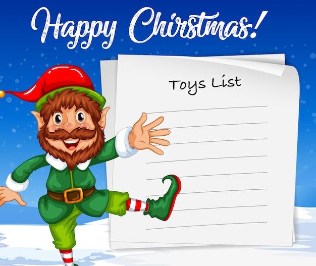 Weihnachtself und spielzeug-liste Premium Vektoren