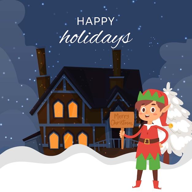 Weihnachtselfe auf nachtwinterlandschaft mit karikaturhäuschenhaus mit licht in der windowscartoon illustration Premium Vektoren