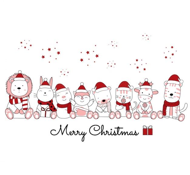 Weihnachtsentwurf mit dem niedlichen tier-cartoon im blumenrahmen. handgezeichnete cartoon-stil Premium Vektoren