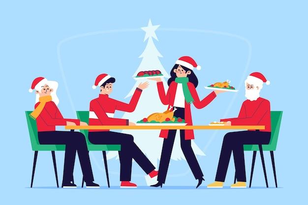Weihnachtsessen szene illustration Premium Vektoren