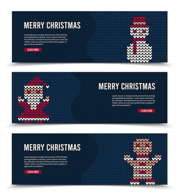Weihnachtsfahne eingestellt für social media mit gestrickten charakteren Kostenlosen Vektoren