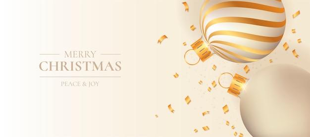 Weihnachtsfahne mit eleganten weihnachtskugeln Kostenlosen Vektoren