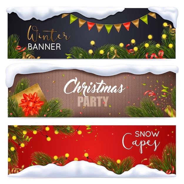 Weihnachtsfahnen eingestellt Kostenlosen Vektoren