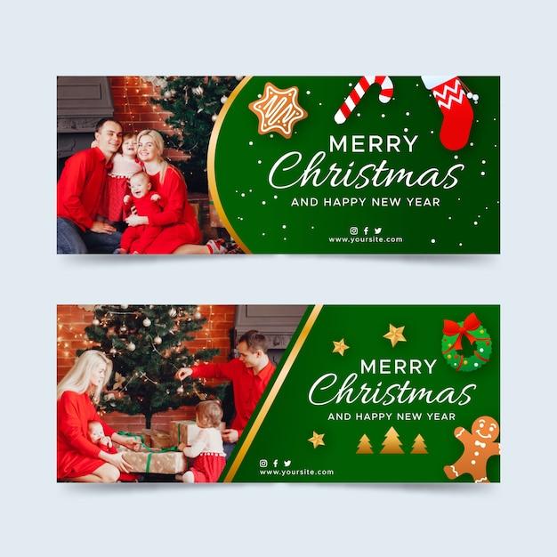 Weihnachtsfahnen mit fotosatz Kostenlosen Vektoren