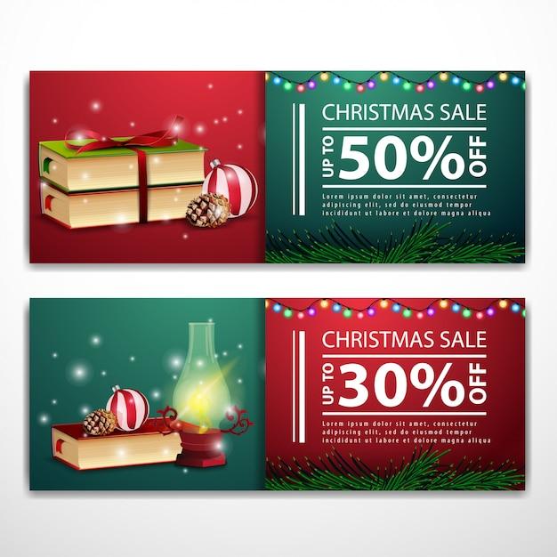 Weihnachtsfahnenschablonen mit antiker lampe und büchern Premium Vektoren