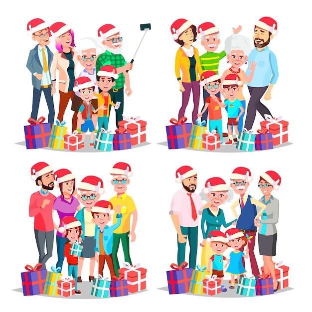 Weihnachtsfamilien-set Premium Vektoren