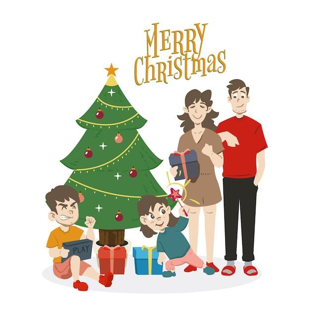 Weihnachtsfamilien-szenenkonzept im flachen design Kostenlosen Vektoren