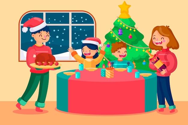 Weihnachtsfamilienszene im flachen design Kostenlosen Vektoren