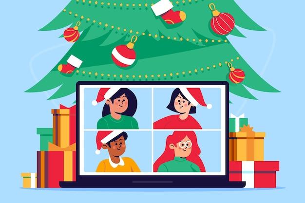 Weihnachtsfamilienvideocallillustration Kostenlosen Vektoren