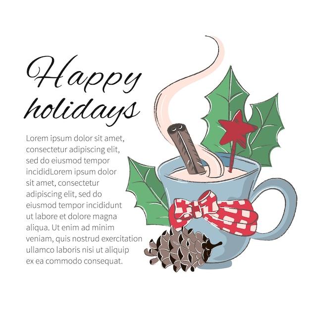 Weihnachtsfarben-vektor-illustrations-set winter cup Premium Vektoren