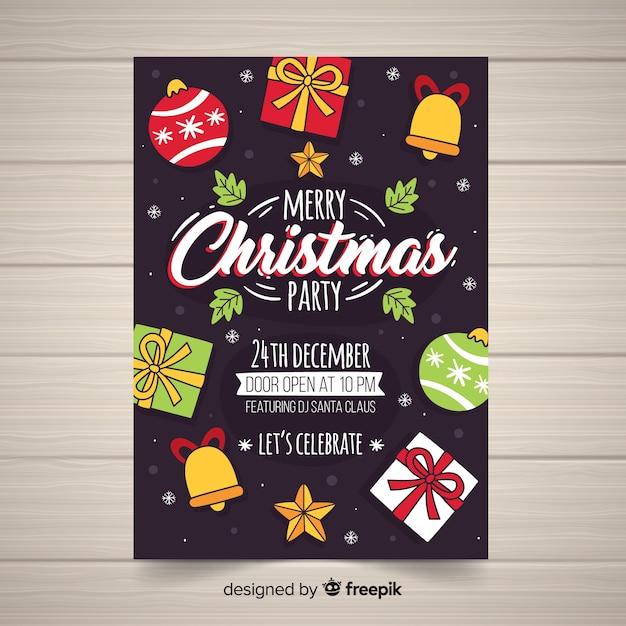 Weihnachtsfeier cartoon weihnachten elemente poster vorlage Kostenlosen Vektoren