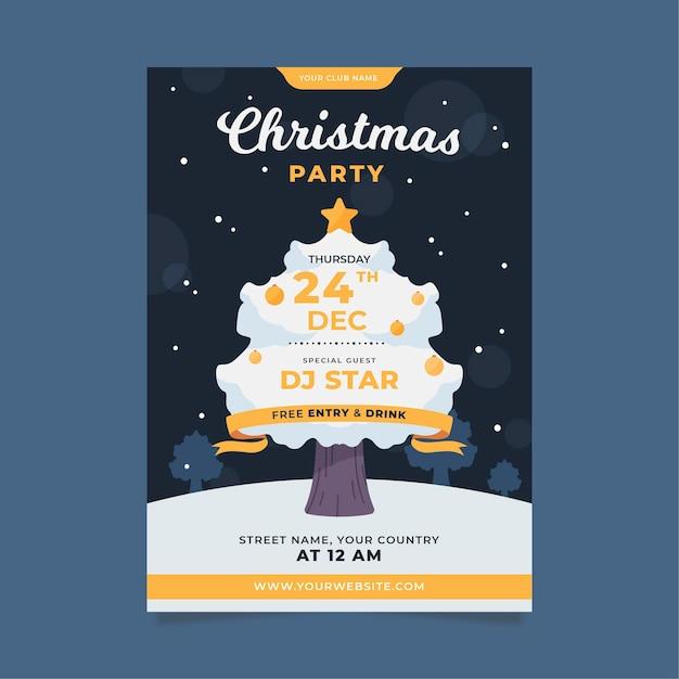 Weihnachtsfeier flyer vorlage in flachem design Kostenlosen Vektoren