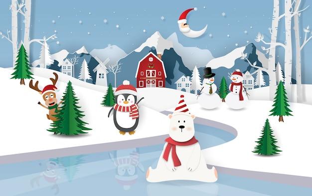 Weihnachtsfeier in schneestadt Premium Vektoren