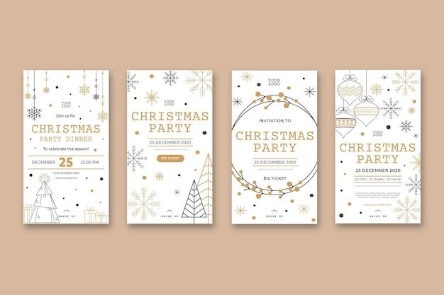 Weihnachtsfeier instagram geschichten Premium Vektoren