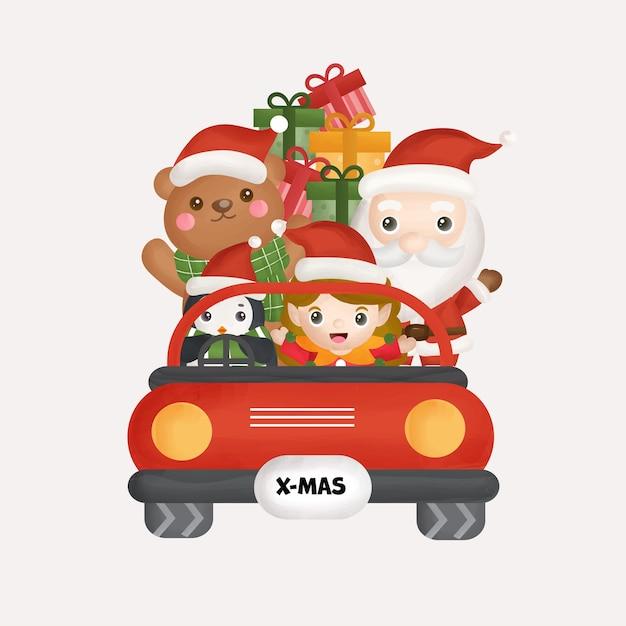 Weihnachtsfeier mit weihnachtsmann und freunden für grußkarten, einladungen. Premium Vektoren