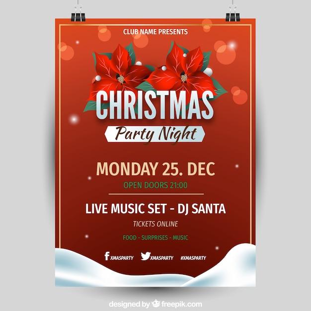 Weihnachtsfeier Plakat.Weihnachtsfeier Nacht Rotes Plakat Download Der Kostenlosen Vektor