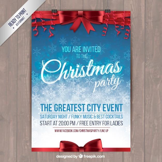 Weihnachtsfeier Plakat.Weihnachtsfeier Plakat Mit Roten Bändern Download Der Kostenlosen