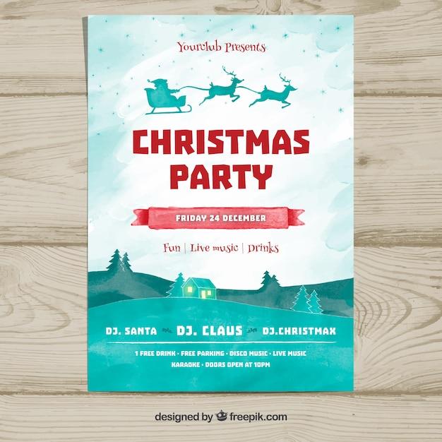 Weihnachtsfeier Plakat.Weihnachtsfeier Plakat Mit Weihnachtsmann Und Landschaft Download