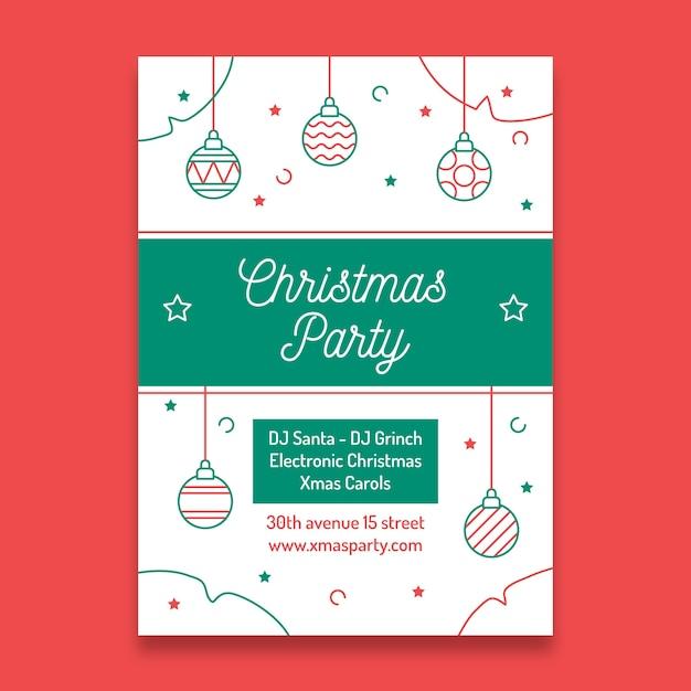 Weihnachtsfeier plakat vorlage im umriss stil mit dekorationen Kostenlosen Vektoren