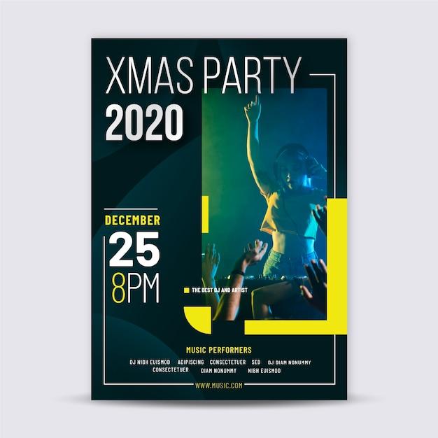 Weihnachtsfeier plakat vorlage mit foto Kostenlosen Vektoren