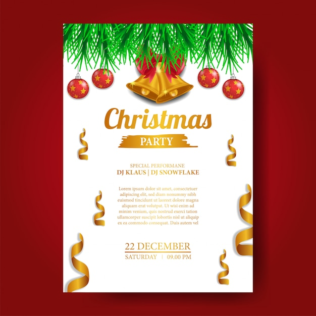 Weihnachtsfeier Plakat.Weihnachtsfeier Plakat Vorlage Download Der Premium Vektor