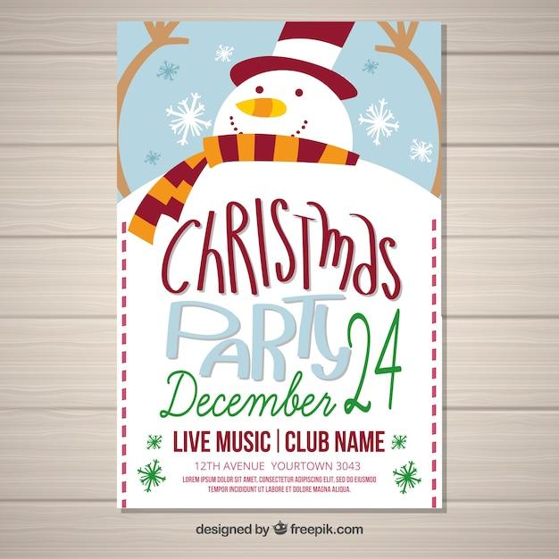 Weihnachtsfeier poster mit schneemann Kostenlosen Vektoren
