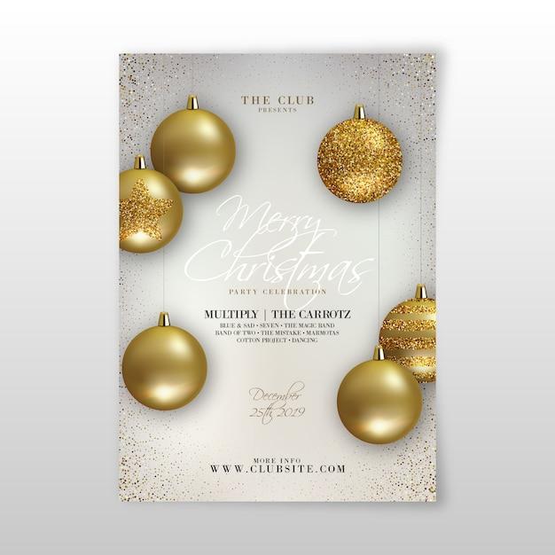 Weihnachtsfeier realistische flyer vorlage Kostenlosen Vektoren