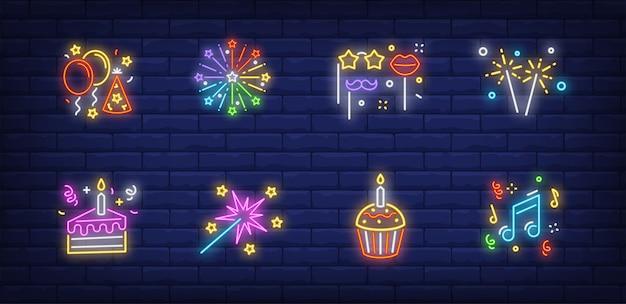 Weihnachtsfeier symbole gesetzt in neonart sammlung Kostenlosen Vektoren