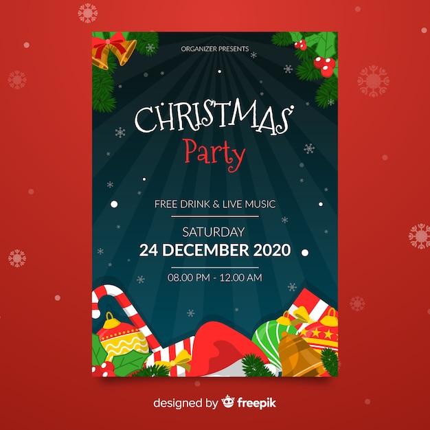 Weihnachtsfeier vorlage mit geschenken und zuckerstange Kostenlosen Vektoren