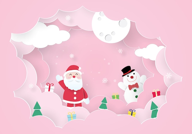 Weihnachtsfeiern, happy new year, santa claus und schneemann Premium Vektoren