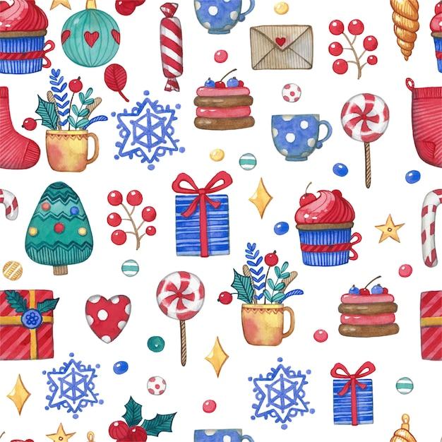 Weihnachtsfeiertag, aquarellweinlesemuster Premium Vektoren