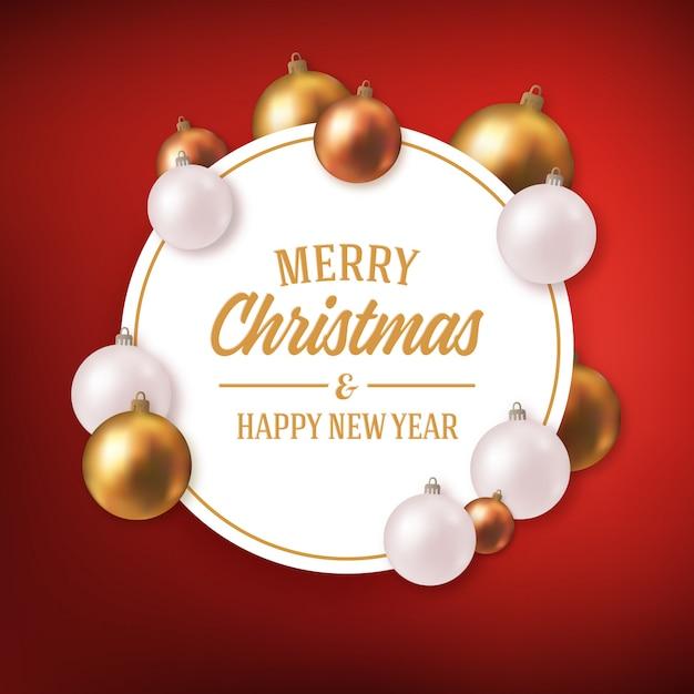 Weihnachtsfeiertage, die mit dekorbällen grüßen Premium Vektoren