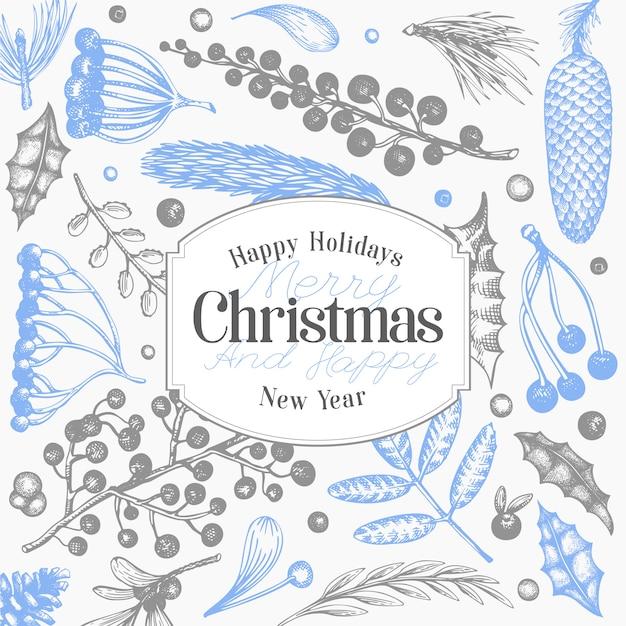 Weihnachtsfeiertage und hintergrund des neuen jahres Premium Vektoren