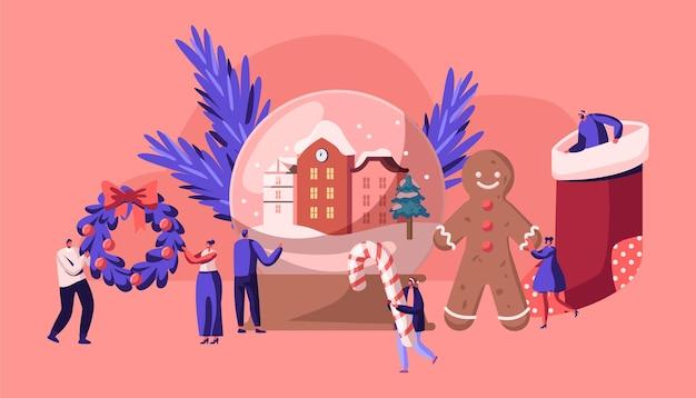 Weihnachtsfeiertagsfeier-konzept-karikatur-flache illustration Premium Vektoren