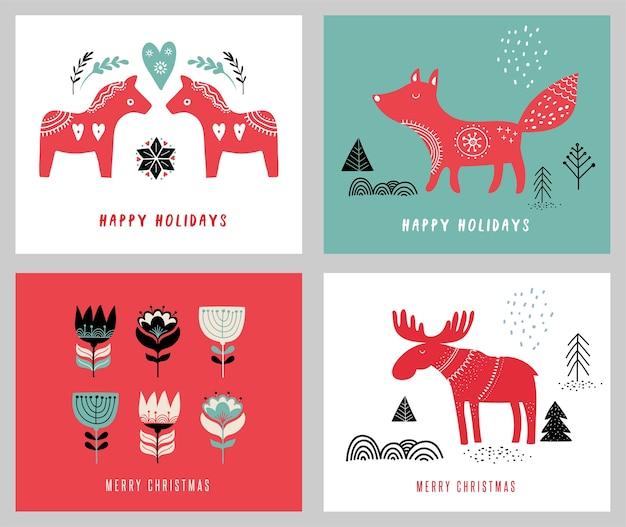Weihnachtsfeiertagsgrußkarten im skandinavischen stil Premium Vektoren