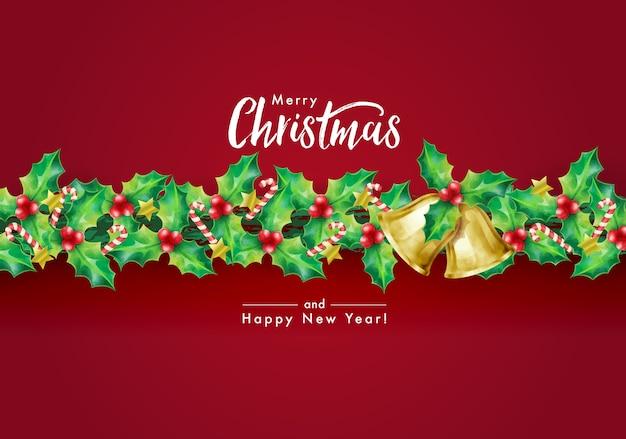 Weihnachtsfeiertagshintergrund mit jahreszeitwünschen und rand der girlande verziert mit stechpalmenzweigen, sternen, zuckerstangen und glocken Premium Vektoren