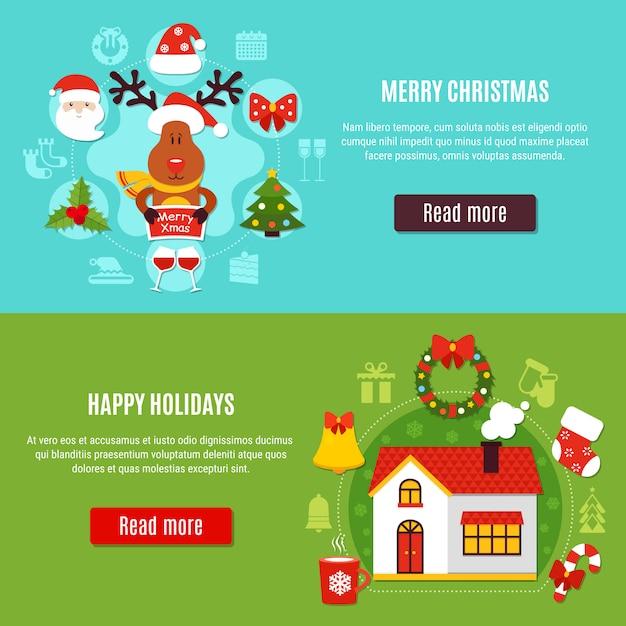 Weihnachtsferien horizontale banner Kostenlosen Vektoren