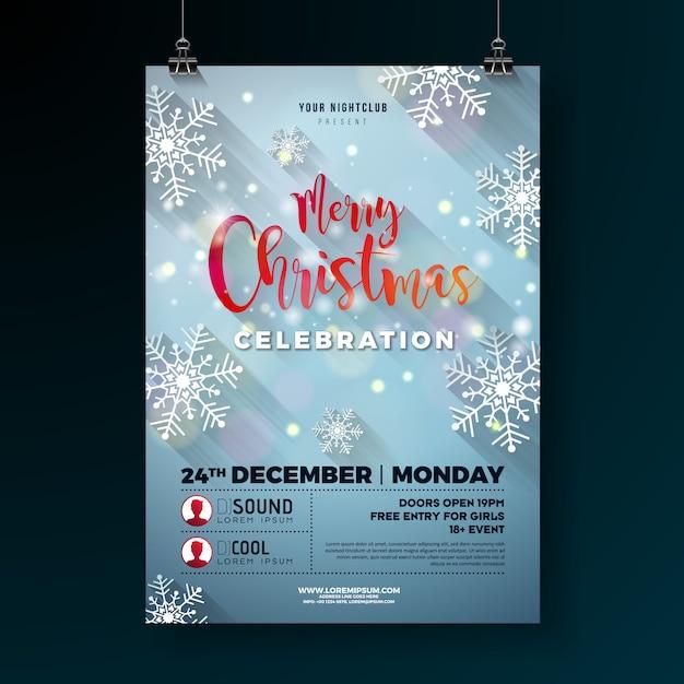 Weihnachtsfest-flieger-illustration mit schneeflocken Premium Vektoren