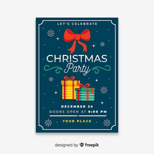 Weihnachtsfestplakat im flachen design Kostenlosen Vektoren