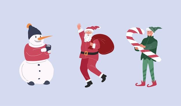 Weihnachtsfiguren mit weihnachtsmann, elf und schneemann. karikaturillustration Premium Vektoren