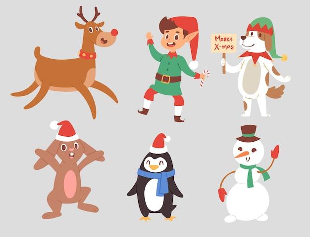 Weihnachtsfiguren niedliche karikatur rentier, weihnachtskaninchen, weihnachtsmann hund neujahrssymbol, elfenkind junge und pinguin individuelle eigenschaften illustration Premium Vektoren