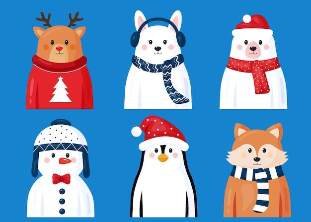 Weihnachtsfigurenkollektion im flachen design Kostenlosen Vektoren