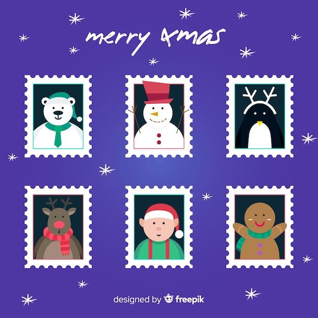 Weihnachtsflache briefmarkensammlung Kostenlosen Vektoren