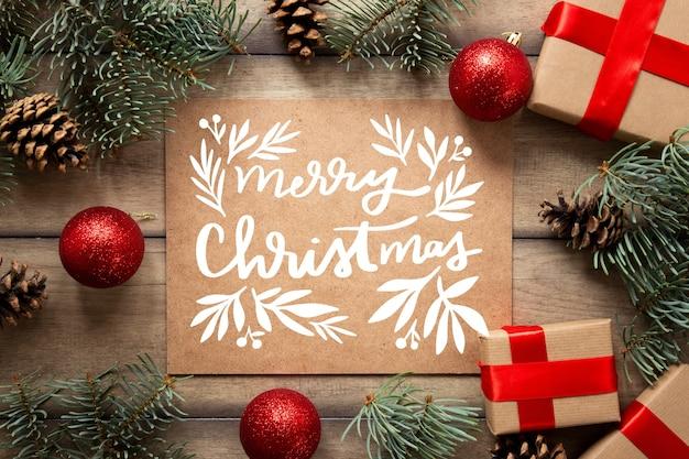 Weihnachtsfoto mit beschriftung und geschenken Kostenlosen Vektoren